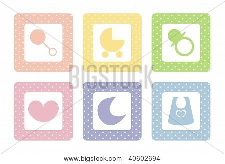 Vector baby icon set with sweet polka dots