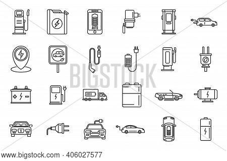 Service Hybrid Car Icons Set. Outline Set Of Service Hybrid Car Vector Icons For Web Design Isolated
