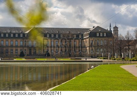 7 March 2020, Stuttgart, Germany - New Castle (Neues Schloss) on Caste Square (Schlossplatz),  18th-