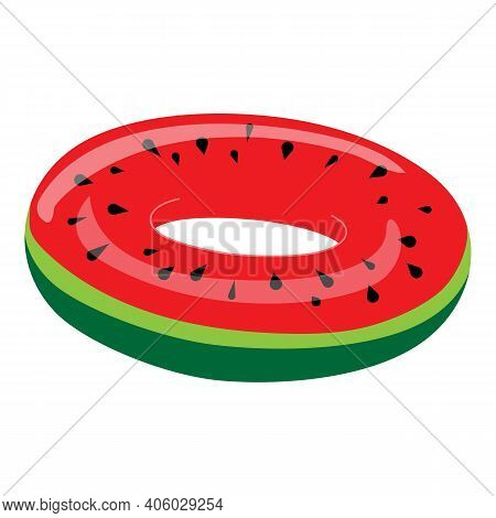 Watermelon Inflatable Ring Icon. Cartoon Of Watermelon Inflatable Ring Vector Icon For Web Design Is