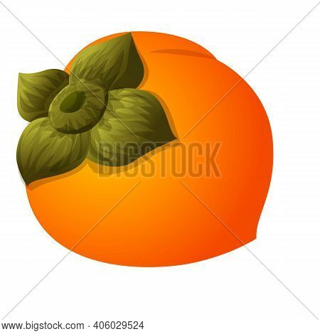 Whole Persimmon Icon. Cartoon Of Whole Persimmon Vector Icon For Web Design Isolated On White Backgr