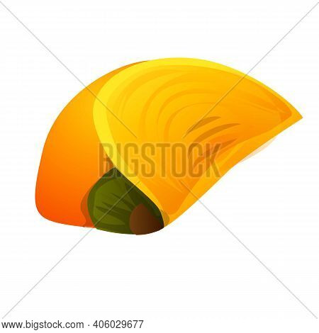 Piece Persimmon Icon. Cartoon Of Piece Persimmon Vector Icon For Web Design Isolated On White Backgr