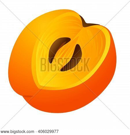 Persimmon Asian Icon. Cartoon Of Persimmon Asian Vector Icon For Web Design Isolated On White Backgr