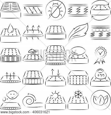 Mattress Icon Set. Properties: Natural Material, Anti Dust Mite, Spine Support, Breathable, Bedding,