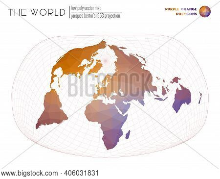 Polygonal Map Of The World. Jacques Bertin's 1953 Projection Of The World. Purple Orange Colored Pol