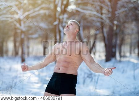 Strong Senior Sportsman Standing In Underpants, Showing Thumbs Up Gesture, Recommending Cold Resista