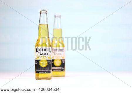 Kharkov, Ukraine - December 9, 2020: Two Bottles Of Corona Extra Beer. Corona Produced By Grupo Mode
