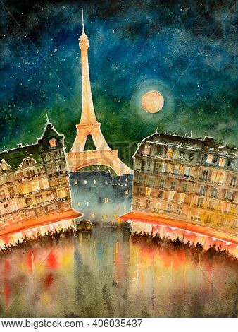 Romantic Evening In Paris, France, Street With Cafe And Eiffel Tower View. Watercolors Illustration.