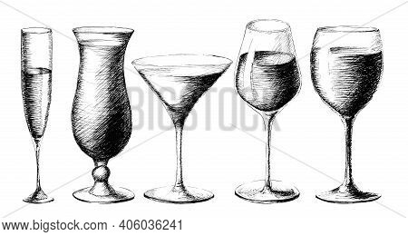 Vector Monochrome Set Sketch Style Illustration Of Hand Drawn Wine Glasses Isolated On White Backgro
