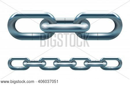 Metal Silver Chain Links Vector Illustration Isolated