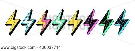 Isolated Lightning Bolt Signs. 1st Set Of Flash Thunderbolts With Texture For Zine Retro Culture And