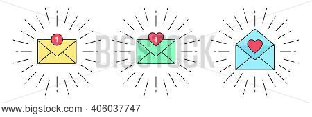 New Message With Counter. Inbox Mail Notification, Incoming Email With Sunburst Frame. Direct, Priva