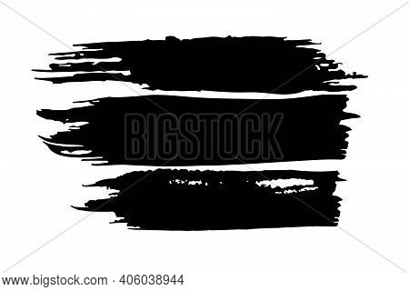 Vector Brush Strokes. Black Paint Strokes. Brush Stroke Set Isolated On White Background, Grunge Bac