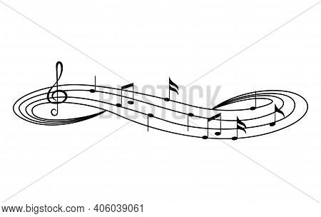 Music Notes On Staves. Music Staff Black Notes Symbols In Rounded Corners Style. Abstract Row Of Mus