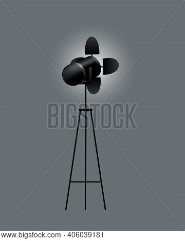 Realistic Spotlights With Gray Background For Show Contest Or Interview Vector Illustration. Photogr