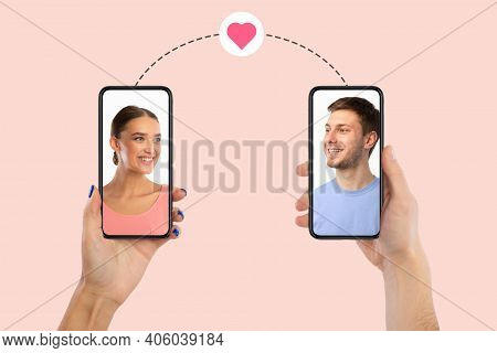 Modern Virtual Communication. Creative Collage Of Young Couple Making Video Call, Male And Female Po