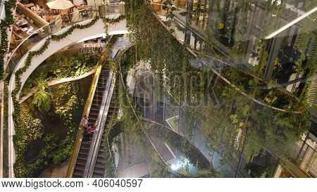 Bangkok, Thailand - 18 December, 2018 The Emquartier Luxury Shopping Center. Design Of Mall, Green E