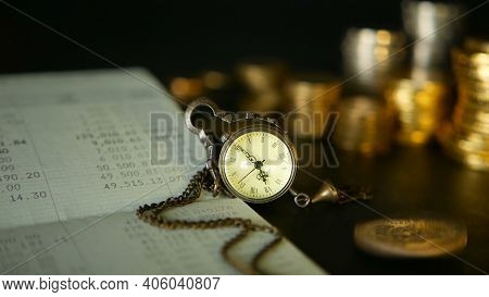 Coins Stack And Saving Bank Account Passbook.concepts For Mortgage And Real Estate Investment, For S