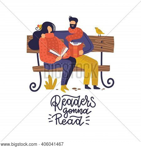 Book Fans, Literature Lovers, Couple Young People Reading On Bench In Park. Hand Drawn Flat Vector I