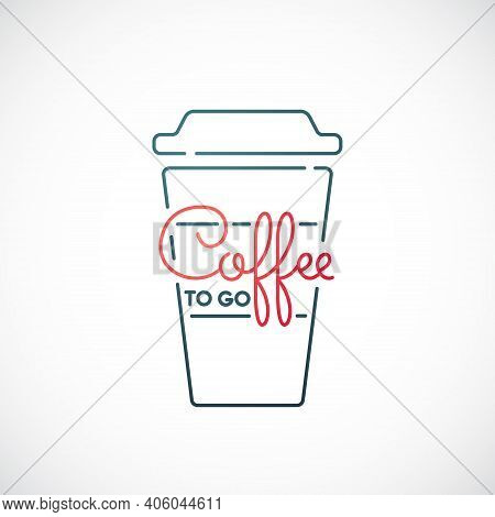 Coffee To Go Line Icon Isolated On White Background. Takeaway Coffee Emblem. Vector Illustration.