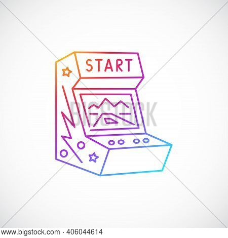 Arcade Game Machine Multicolor Line Icon Isolated On White Background. Arcade Game Emblem. Vector Il