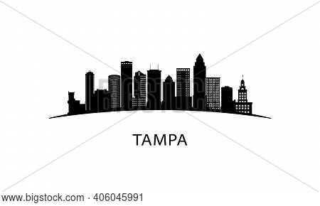 Tampa City Skyline. Black Cityscape Isolated On White Background. Vector Banner.