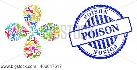 Yen Symbol Multi Colored Swirl Abstract Flower, And Blue Round Poison Textured Stamp Imitation. Elem