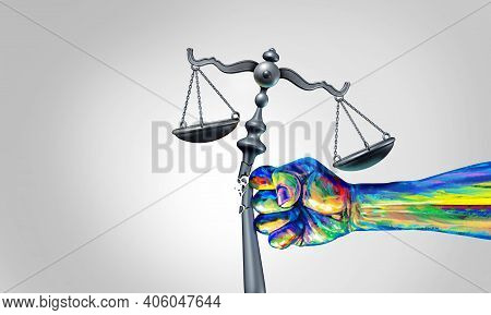 Social Change Law And Society Justice Concept As A Fist Representing Diversity And A Diverse Communi