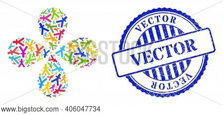 Yuan Currency Colored Twirl Twist, And Blue Round Vector Scratched Seal. Object Flower With 4 Petals
