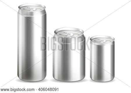 Realistic Detailed 3d Metal Cans Set. Vector Illustration Of Container For Drink Beverage