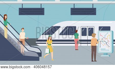 Cartoon Color Characters People And Subway Train Arriving Concept Flat Design Style . Vector Illustr