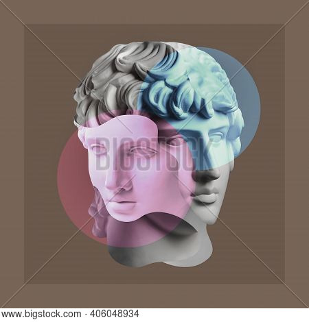 Collage With Plaster Antique Sculpture Of Duble Human Face In Pop Art Style. Creative Concept Image