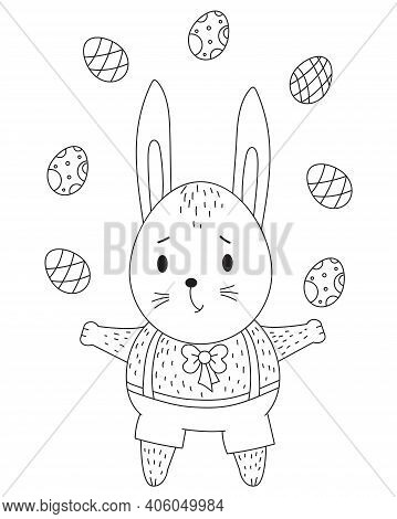 Easter Bunny. Cute Bunny Boy In Shorts And With Easter Eggs. Vector. Black Line, Outline. Decorative