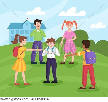 Sad Little Boy Being Bullied By His Schoolmates In Schoolyard. Flat Cartoon Vector Illustration With