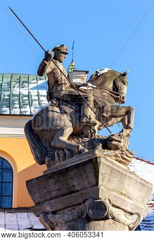 Monument To The Polish Lancers Of The Fifteenth Regiment On A Sunny Day. Cognition. Poland.