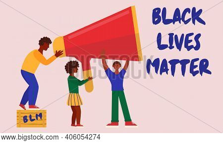 Black Lives Matter. Young African American Hold Megafon Together. The Social Problems Of Racism. Rig