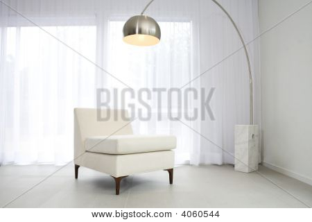 Contemporary Interior With Lamp And Chair