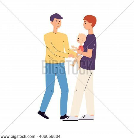 Homosexual Or Gay Married Couple With Child Flat Vector Illustration On White.