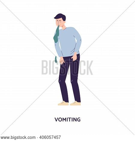 Man Character Releasing A Stream Of Vomit, Flat Vector Illustration Isolated.