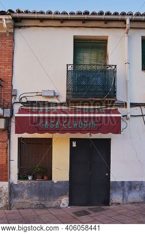 Guadalajara, Spain - January 4, 2021: Facade Of One Of The Most Legendary Bars In Guadalajara, Casa