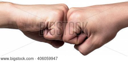 People Bumping Their Fists Together, Arms. Friendly Handshake, Friends Greeting. Man Giving Fist Bum