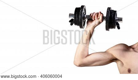 Skinny Guy Hold Dumbbells Up In Hands. A Thin Man In Sports With Dumbbells. Weak Hand Man Lift A Wei