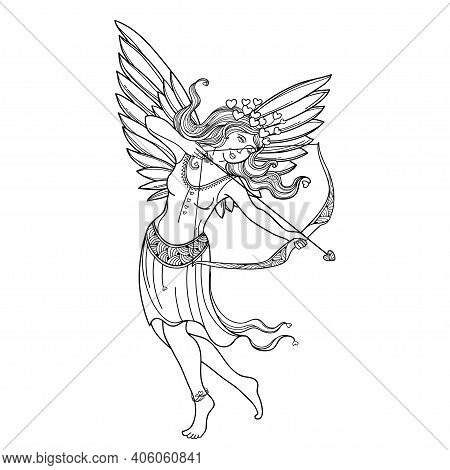 Vector Hand-drawn Silhouette Of Outline Cupid Girl With Bow And Arrow In Black Isolated On White Bac