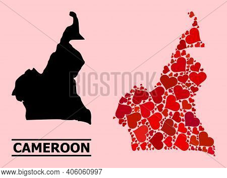 Love Collage And Solid Map Of Cameroon On A Pink Background. Collage Map Of Cameroon Is Formed With