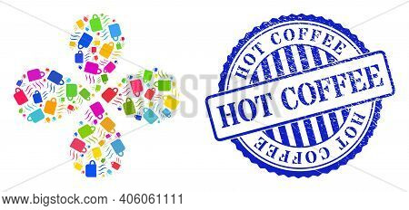 Hot Tea Cup Multicolored Twirl Flower Shape, And Blue Round Hot Coffee Textured Badge. Element Twirl