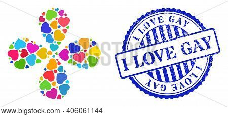Love Heart Multi Colored Explosion Abstract Flower, And Blue Round I Love Gay Unclean Badge. Object