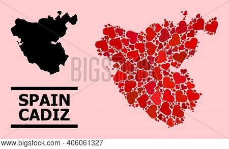 Love Collage And Solid Map Of Cadiz Province On A Pink Background. Collage Map Of Cadiz Province Des