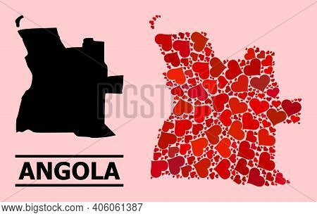 Love Collage And Solid Map Of Angola On A Pink Background. Mosaic Map Of Angola Designed With Red Lo