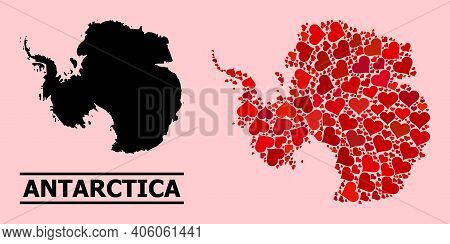 Love Mosaic And Solid Map Of Antarctica On A Pink Background. Mosaic Map Of Antarctica Is Formed Fro
