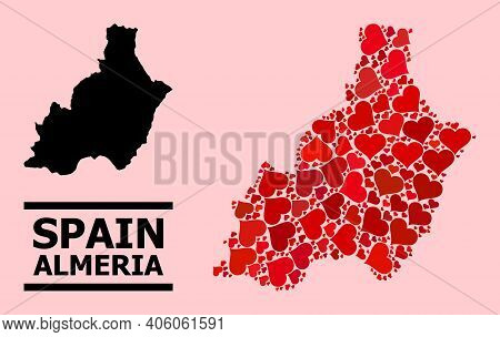 Love Pattern And Solid Map Of Almeria Province On A Pink Background. Mosaic Map Of Almeria Province